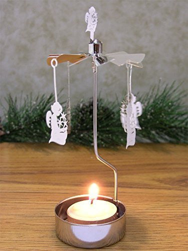 Angel Candle Holder - Spinning Angel Charms and a Silver Tealight Candleholder