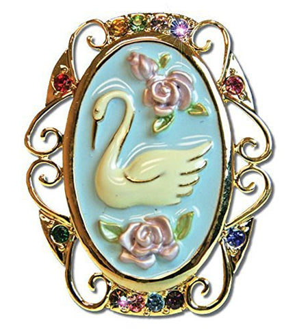 Bereavement Lapel Pin Jewelry Swan And Roses Brooch