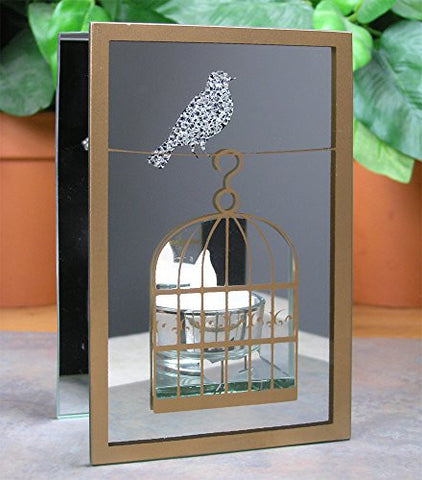 Mirrored Glass Birds and Birdcage Candle Holder Includes Flameless LED Tea Light