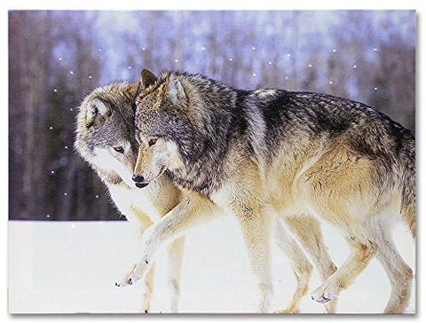 Kissing Wolves LED Lighted Canvas Print Home Decor - Frolicking Grey Wolves Nuzzling in a Snowy Winter Forest Scene - 16x12 Inch(2599)