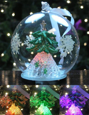 LED Glass Globe Christmas Ornament with Green Tree Inside(9849)