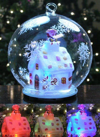 LED Glass Globe Christmas Ornament Santa Claus in Chimney of Lit Cottage House with Hand Painted Snowflakes Color Changing Lights Collectible