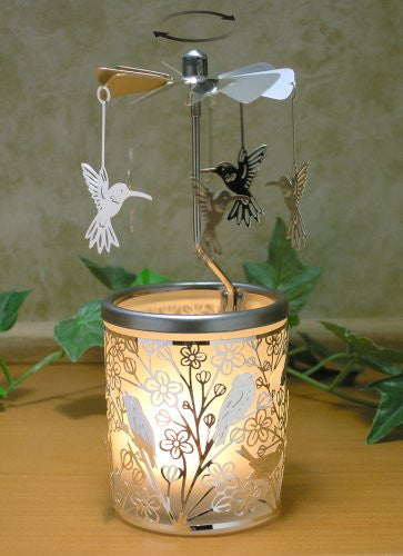 Candle Holder With Birds On Branches And Spinning Humming Birds