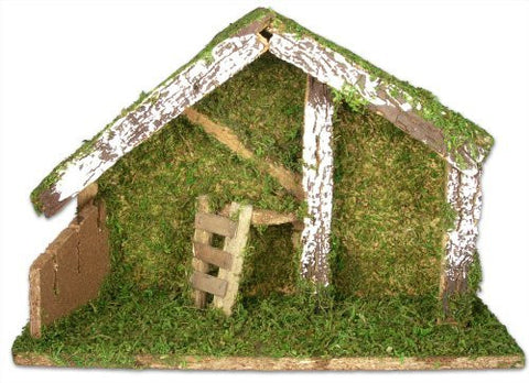 "Stable for Nativity - Wooden Creche with Moss and Snow - 8 1/2"" Tall"