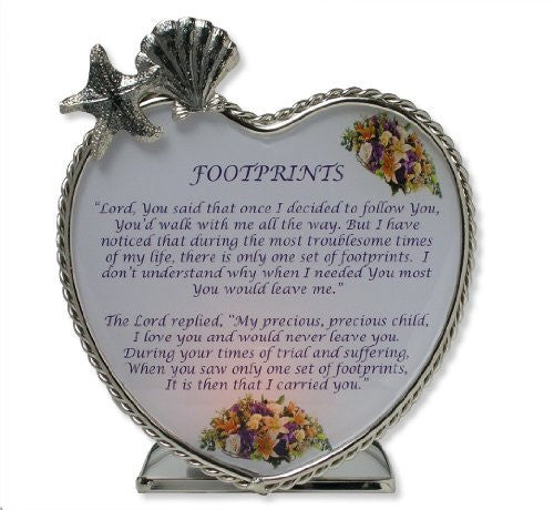Footprints Message Candle Holder Inspirational