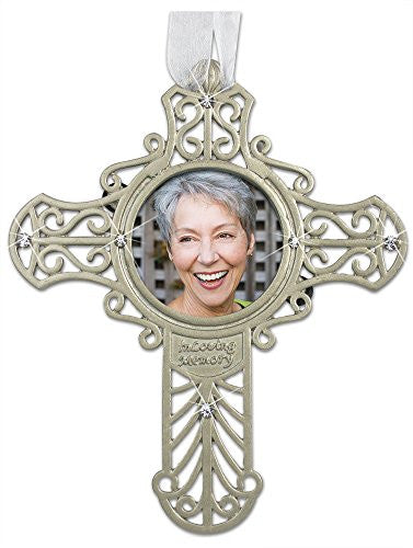 Memorial Ornament - Silver Metal Filigree Cross with Picture Opening
