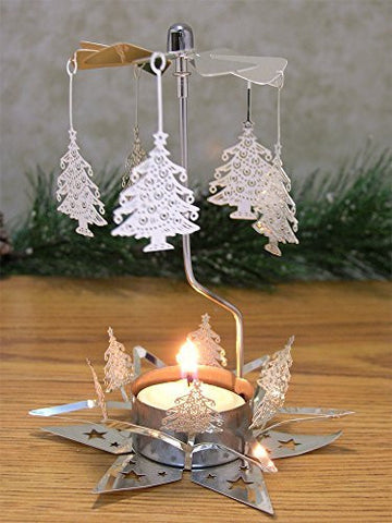 Christmas Tree Silver Laser Cut Spinning Candle Holder - Scandinavian Design - Tea Light Candle Holder - Rotary Candle Holders