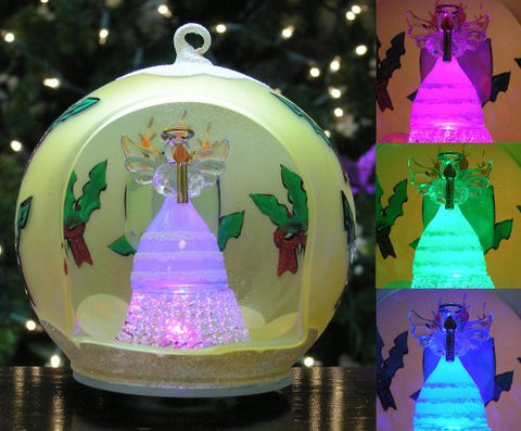 LED Glass Angel Ornament with Candle(9977)