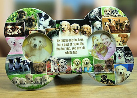 Dog Picture Frame - Dog Bone Ceramic Plaque - Double Picture Frame