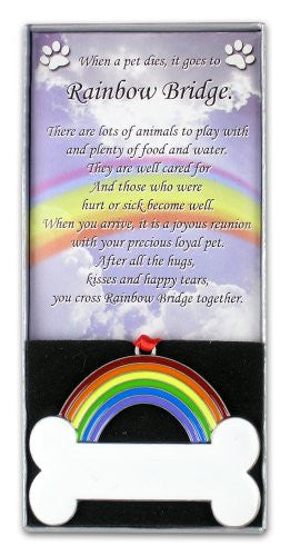 Rainbow Bridge Dog Bone Pet Remembrance Ornament~personalize the White Dog Bone with an Oil Based Paint Marker (Paint Marker Not Included)
