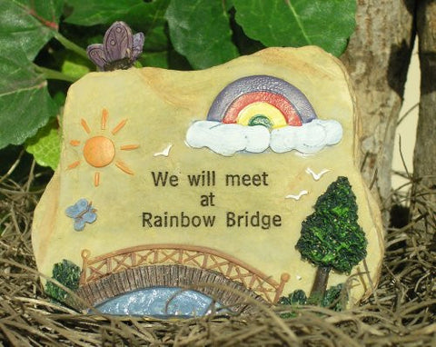 Pet Memorial Message Rock Rainbow Bridge