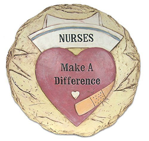 Nurse's Garden Decoration Stepping Stone Plaque Nurses Make a Difference Engraved on a Heart and Hat with Bandaid - 12 Inch Round