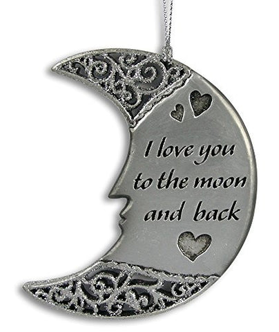 I Love You to the Moon and Back - Decorative Hanging Silver Moon Ornament