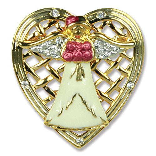 Mom Angel Pin - Angel Holding Roses Framed with a Filigree Heart - Mother's Day Gift