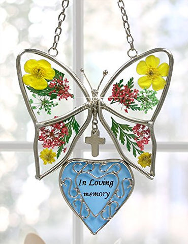 In Loving Memory Butterfly Stained Glass with Flowers Suncatcher(2421)