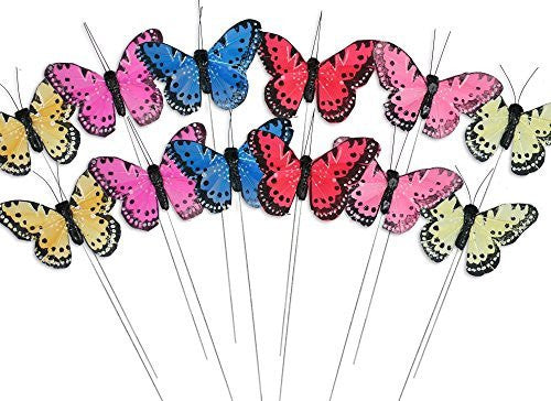 Butterfly Floral Picks with Feather Wings - Set of 12 Colorful Artificial Butterflies(3608)