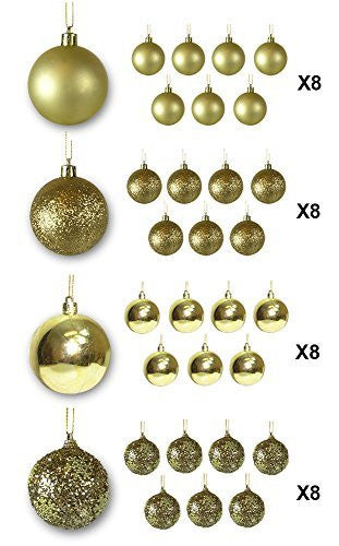 Gold Ball Ornaments - Pack of 32(3560)
