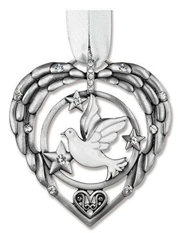 Remembrance Ornament - White Dove with Stars and Crystals