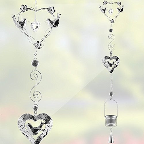 Hanging Glass Candle Holder Chimes - Metal Birds and Heart Shape Design