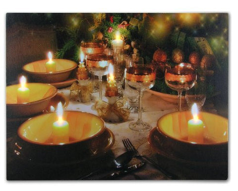 Decor Wall Art with LED Lights Canvas Print Lighted Candles and Picture(2537)