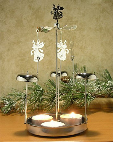 "Spinning Angels Tealight Candle Holder with Bell Chimes Swedish Scandinavian Design Metal 8""H(9573)"