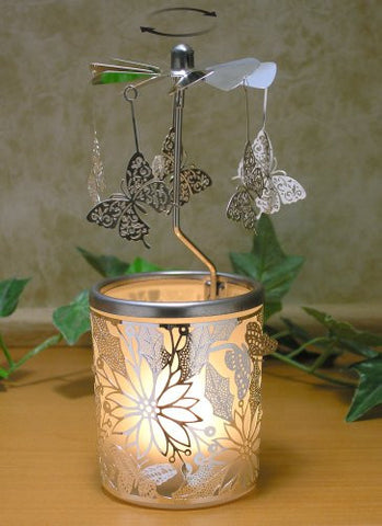 Spinning Butterfly Candle Holder with Flowers Scandinavian Design(9508)