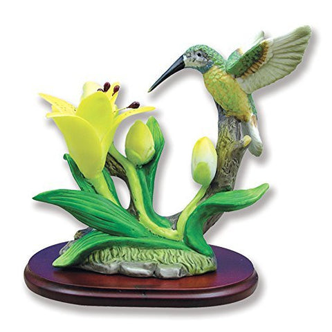 Hummingbird Figurine Porcelain with Lily Flower on Wood Base