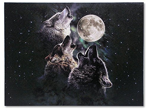 Wolf Canvas Print - LED Lighted Print - 3 Wolves Howling at the Moon and Starry Night Sky Scene - 16x12 Inch