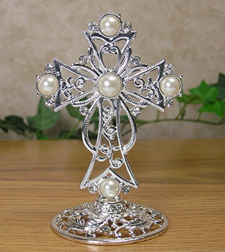 Metal Cross Decoration Jeweled Accents Desktop Centerpiece Gift for Baptism In Loving Memory Sympathy Bereavement - 4 Inch