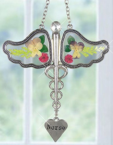 Nurse Caduceus Suncatcher with Real Pressed Flowers(2127)