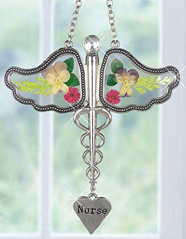 Nurse Caduceus Suncatcher with Real Pressed Flowers