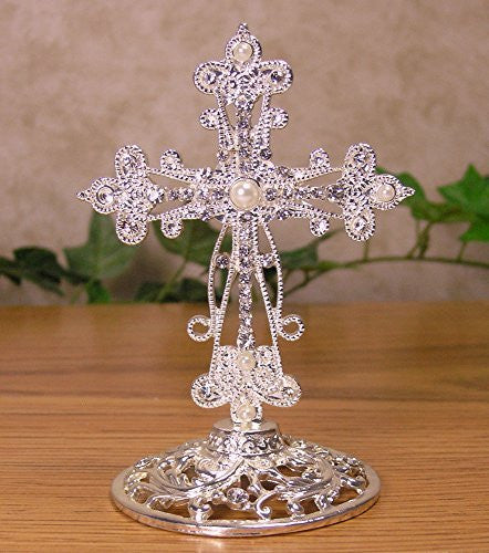 Metal Cross Jeweled Accents Desktop Centerpiece Gift for Baptism In Loving Memory Sympathy Bereavement - 4 Inch