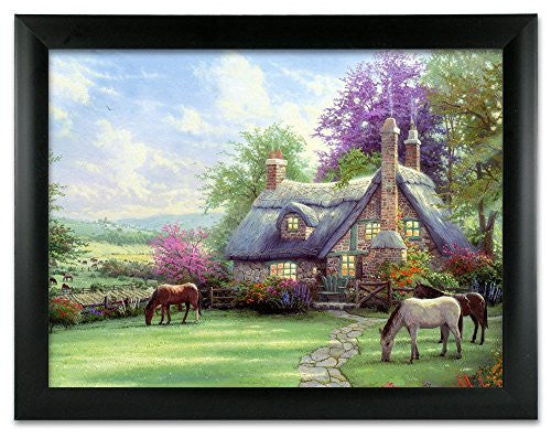 Country Cottage and Horses 3D Holographic Framed Poster