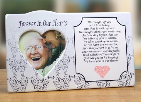 I Thought of You with Love Today Ceramic Memorial Picture Frame - Traditional Design Goes with Any Decor - Keepsake Plaque - Bereavement Gift