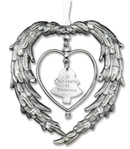 "Remembrance Ornament ""In Our Hearts At Christmas"" Angels Wings Jewel Accents(2475)"