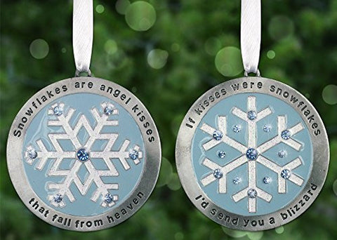 Snowflake Ornaments - Set of 2 Ornaments - Engraved Ornaments with Jewels and Snowflakes - Christmas Gift - Christmas Decorations