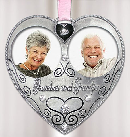 Bereavement Sympathy Memorial Grandma Grandpa Double Photo Frame Ornament