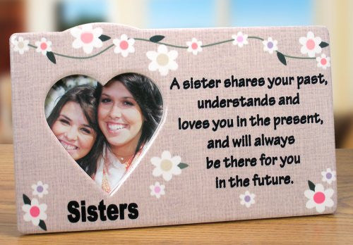 Sister Picture Frame - Heart Shaped Picture Opening - Flower Decorations