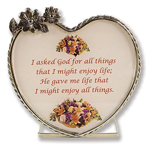 Candle Holder - I Asked God Inspirational Saying - Pewter Heart