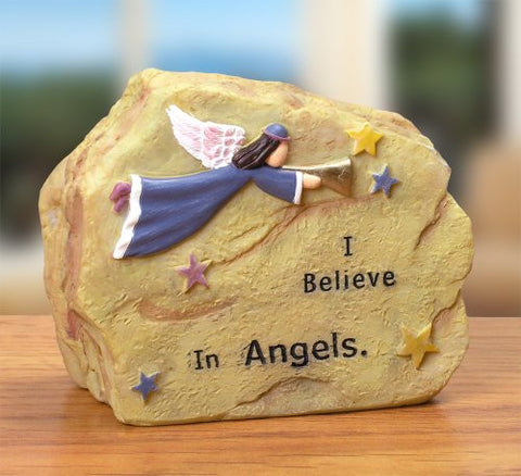 Angels Message Rock Written In Stone Polystone - Colorful Angel Theme