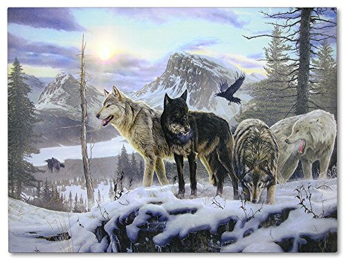 Wolves LED Lighted Sun Canvas Print - Wolves Crossing a Snowy Winter Forest