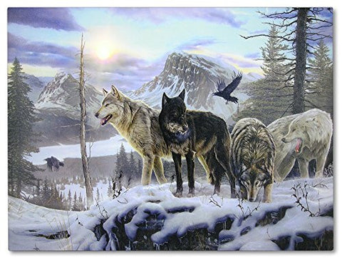 Wolf Print - LED Lighted Canvas Print with a Pack of Wolves in a Mountain Scene