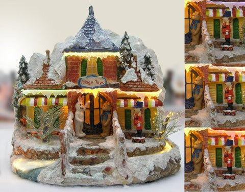 Christmas Snow Village Toy Store with Fiber Optic and LED