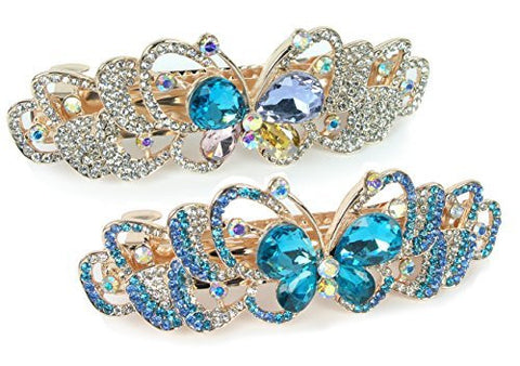Rhinestone Barrettes - Set of 2 Jeweled Butterfly Hair Clips - Blue and Clear Crystals - Gold Tone Barrett
