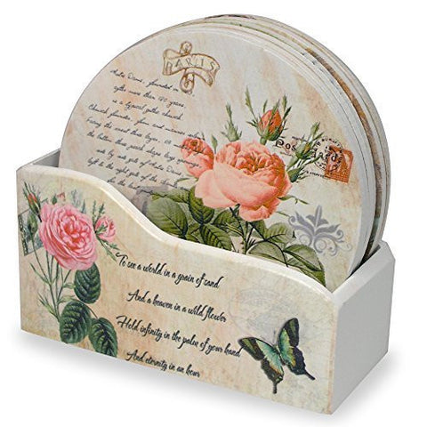 Decorative Coasters - Set of 6 Butterfly and Rose Designs - Assorted Styles on each Drink Coaster - Kitchen Décor(4704)