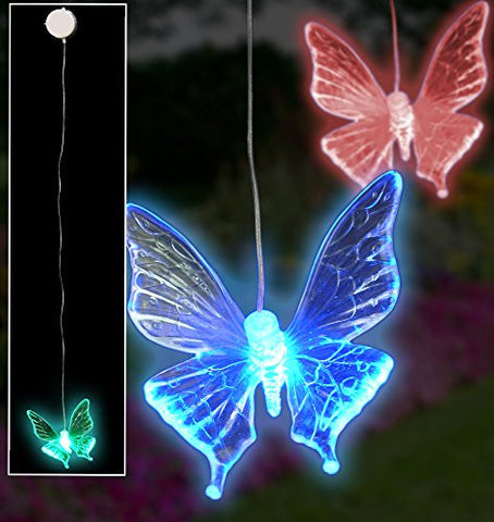 LED Butterfly Window Decoration - Set of 2 - Hanging Mobile Color Changing