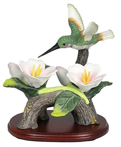 Hummingbird Figurine Porcelain with Pink Flowers on Wood Base 4.5 Inch