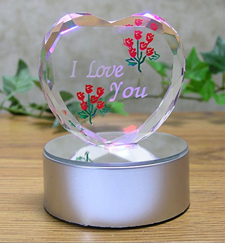 I Love You LED Glass Heart Decoration
