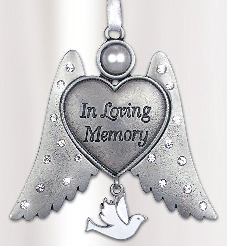 Remembrance Angel Wings Ornament - In Loving Memory Engraved on Heart - White Hanging Dove Charm - Memorial Ornament
