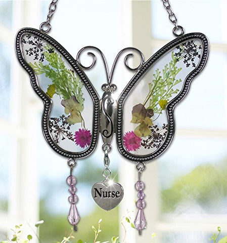 Nurse Butterfly Suncatcher - Pressed Flower Wings - Gifts for Nurses - Nurse Practitioners - Nurse Gifts - Nurse Graduation Gifts